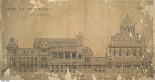 Title/description: Old Centre Block, Parliament Buildings, Ottawa. East and West elevation.  Creator: Fuller and Jones, architectsDate: ca.1860Identifier: Credit: Library and Archives Canada / RG11M Copyright: The Crown