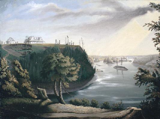 Colline des Casernes. Vue de la Colline des Casernes et de la rivière Rideau à Bytown (Ottawa)