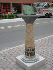 cj fleury - Postcards from the Piazzas (detail, work in situ), 2010 - bronze, granite, and stainless steel