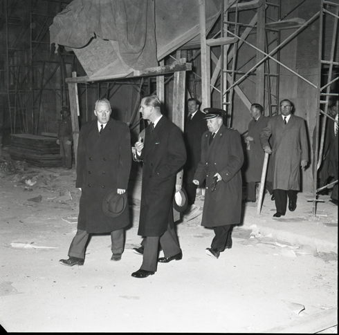 H.R.H. Prince Phillip at the site of an explosion at the Addressograph Multigraph of Canada Ltd. Building on Slater Street.