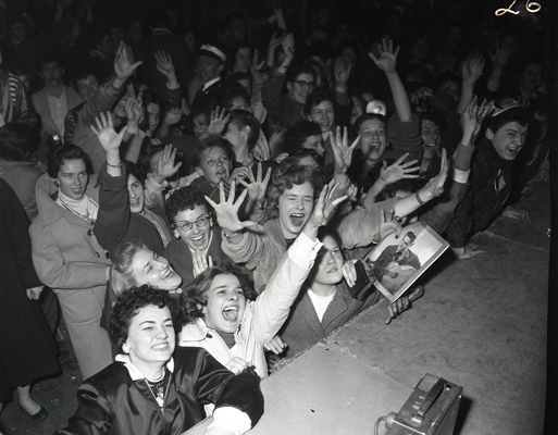 Crowd at Elvis Presley concert.