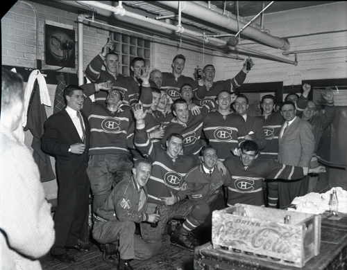 Hull-Ottawa Canadiens celebrate winning the Memorial Cup against Regina.