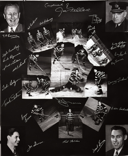 Autographed Senators hockey team photograph (copy). This collage was created at the height of the Senators successes.