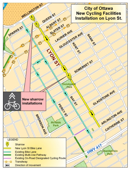 Map of new cycling facilities on Lyon Street