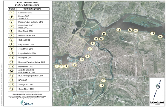 Map of combined sewer overflow sites