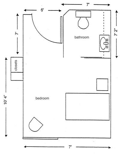 One bedroom with a bathroom and a closet