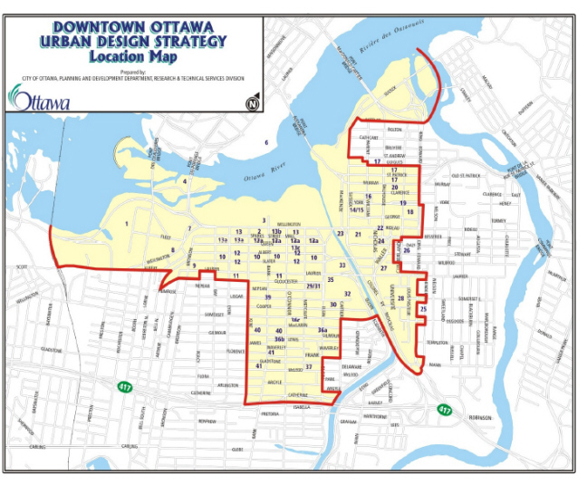 Downdown Ottawa Urban Design Strategy, Location Map