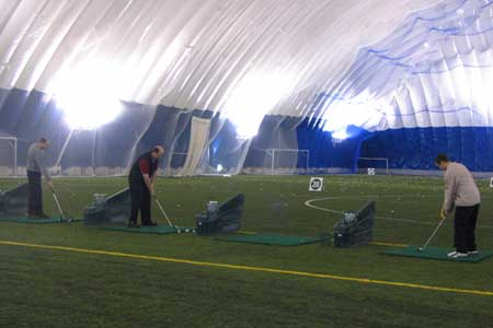Superdome's indoor driving range is a popular place, especially when taking golf lessons from the facility's golf pros to sharpen skills during winter months.