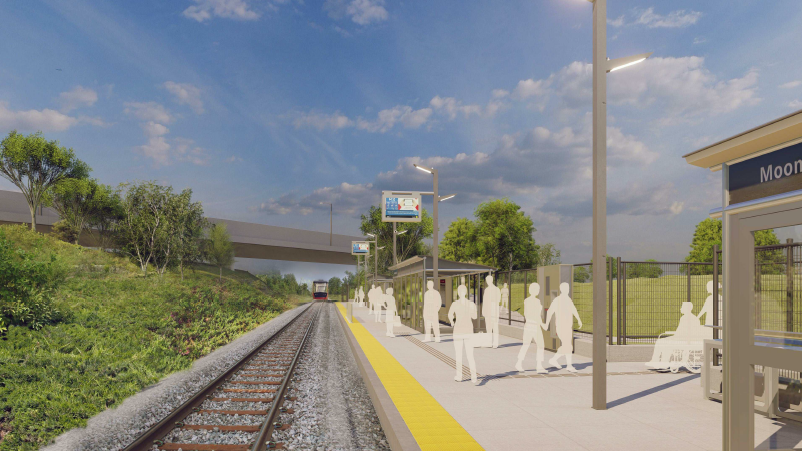 This image is an artistic representation of the Mooney's Bay Station design. The final product may not be exactly as shown. Cette image est une représentation artistique de la conception de la station Mooney's Bay. Le produit final peut différer de l'illu