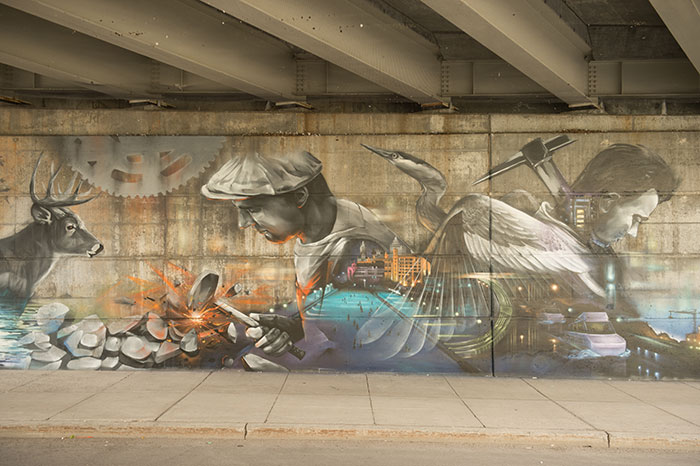 detail of Mural at Queen Elizabeth Dr under Laurier Ave Underpass (west wall)