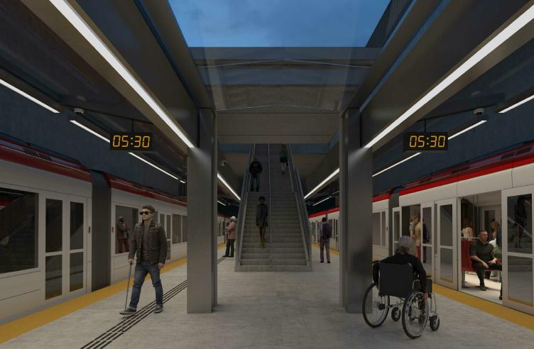 This image is an artistic representation of the station design. The final product may not be exactly as shown. Cette image est une représentation artistique de la conception de station. Le produit final peut différer de l'illustration.