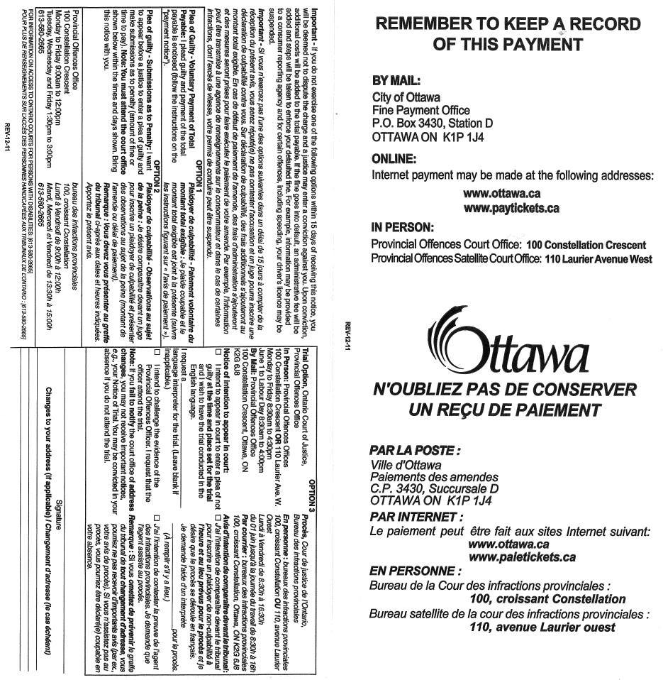 Provincial Offences Act Ticket – Electronic Ottawa Police Services Ticket