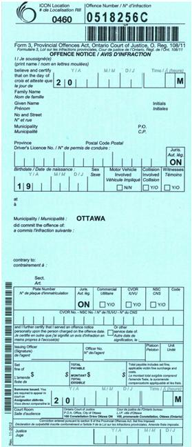 Provincial Offences Act Ticket - Handwritten Ticket
