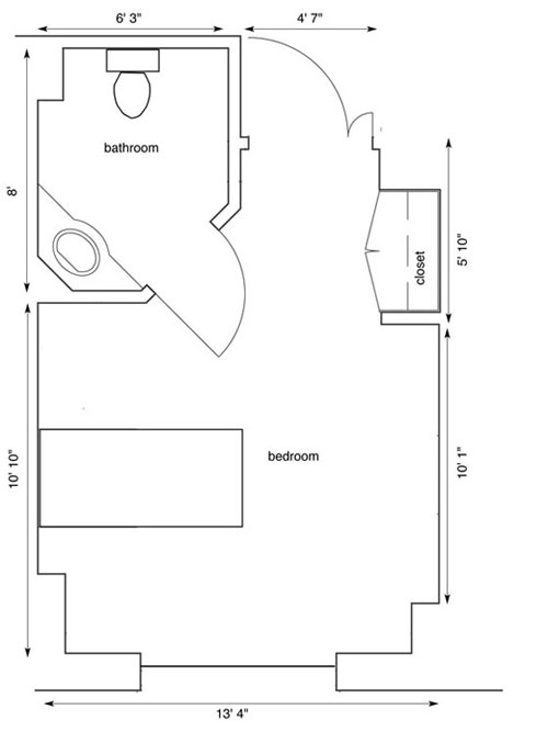 One bedroom with a bedroom and closet
