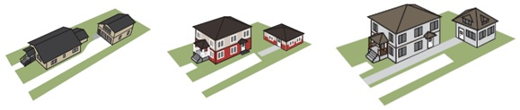 This image shows the a graphic sketch of three homes on three separate lots, each with a detached secondary dwelling unit in the rear yard.