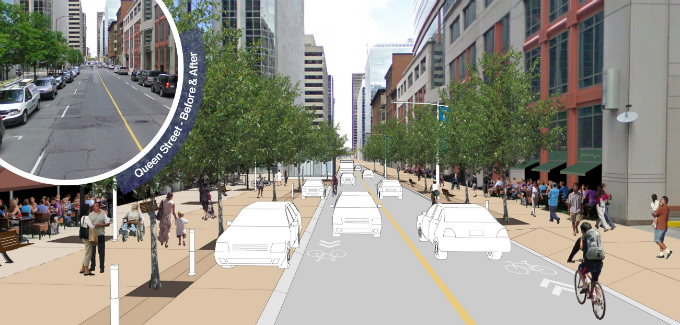 A conceptual drawing showing cars, cyclists and pedestrians on Queen Street