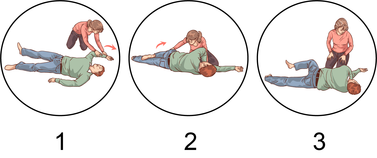 An illustration of the 3 steps leading to the recovery position
