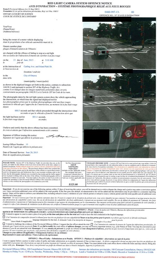 Red Light Camera Ticket – Electronic Ticket