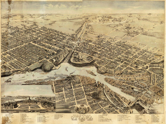 Library and Archives Canada / Crédit: Bibliothèque et Archives Canada Title/description: Bird's eye view of the city of Ottawa, Province, Ontario, Canada / drawn by Herm. Brosius. Chicago Litho. Co., 1876..Date:  1876
