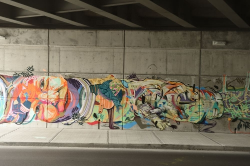 Mural at carling avenue at highway 417 underpass