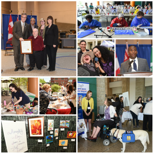 Photo montage depicting various activities with participants during 13th annual AccessAbility Day held on June 1, 2016