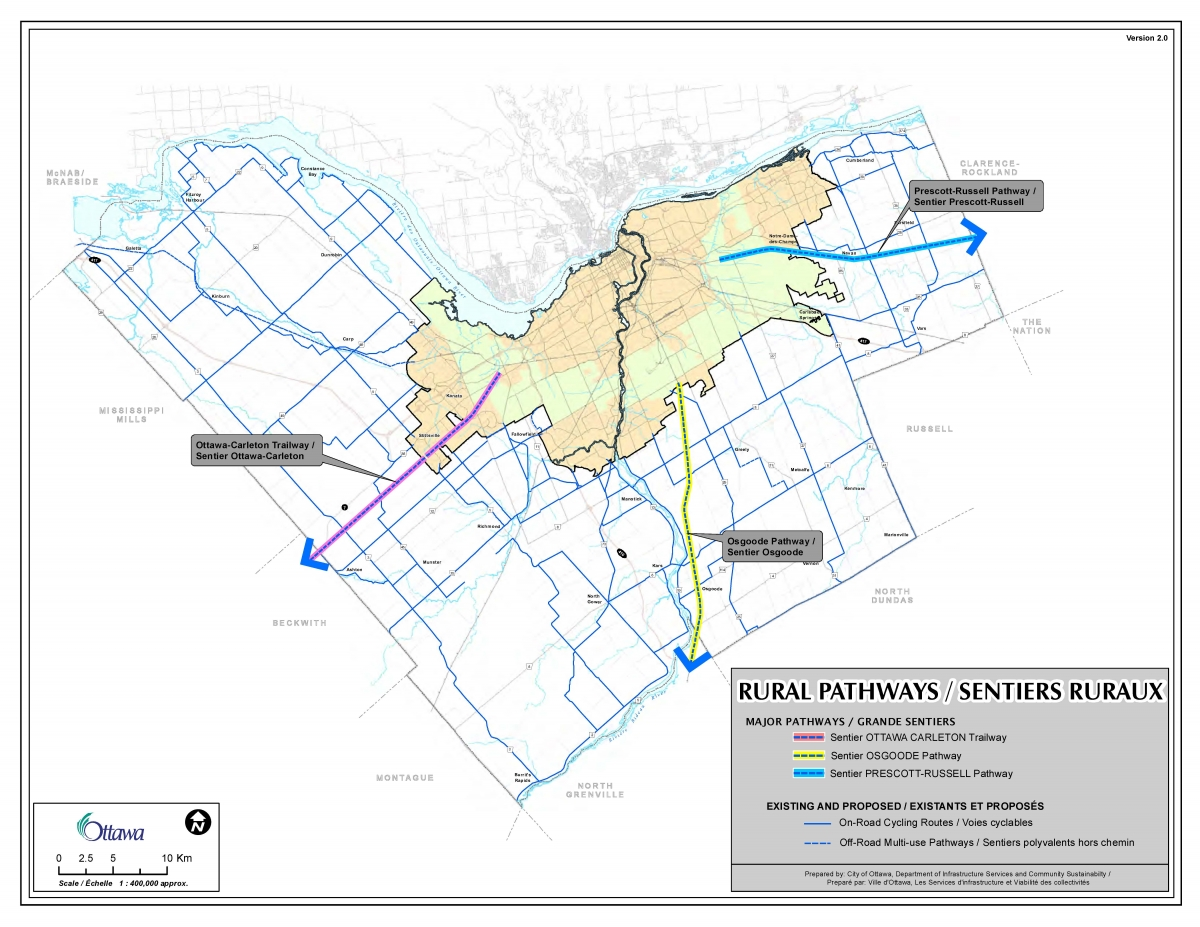 The Rural Pathways Map shows the three rural multi-use pathways.  These are the Prescott-Russell and Osgoode Pathways and the Ottawa-Carleton Trailway.