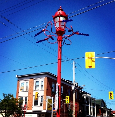 Organic sculptural forms enhance street lights in the Chinatown community.