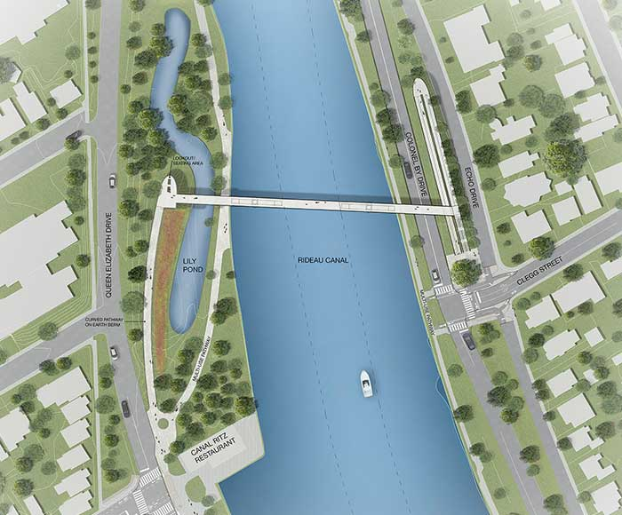 site plan - A plan view showing the Rideau Canal with the new bridge and approaches connecting to Clegg Street and Fifth Avenue.