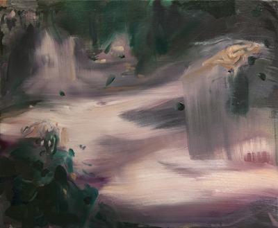 Abstract painting of a figure in a landscape.