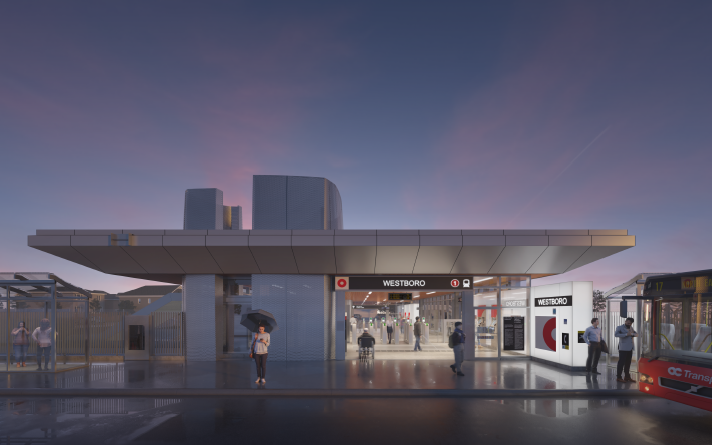 This image is an artistic representation of the Westboro Station design. The final product may not be exactly as shown.