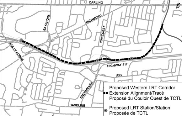 Proposed Western LRT Extension alignment